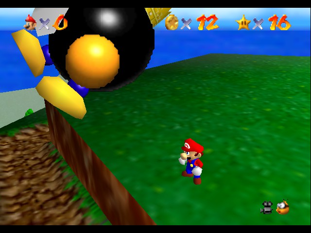 Super Mario 64 - Level Bob-omb Battlefield - how do you like being thrown off - User Screenshot