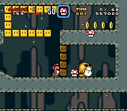 Super Mario World - Level Bowser - Glitch? how did the mushrooms get stuck lol! - User Screenshot