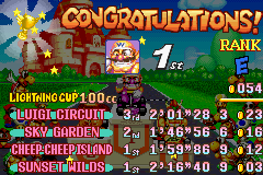 Mario Kart - Super Circuit - first win with wario - User Screenshot