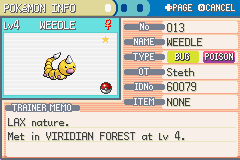Pokemon Fire Red - Character Profile weedle info - i caught a shiny weedle in  viridian forest!  - User Screenshot