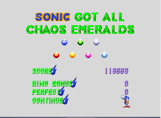 Sonic and Knuckles - ALL 7 CHAOS EMERALDS! YEAH BABY! - User Screenshot