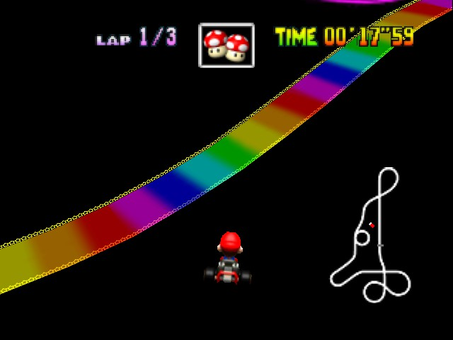 Mario Kart 64 - Level Rainbow Road - hooray for game breaking shortcuts! - User Screenshot