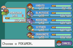 Pokemon Ash Gray (beta 3.61) - My team after 8 gyms - User Screenshot