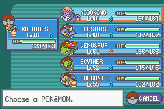 Pokemon Ash Gray (beta 3.61) - Menus Pokemon Team - Old team - User Screenshot