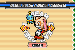 Sonic Advance 3 - Game Select  - Cream Select - User Screenshot