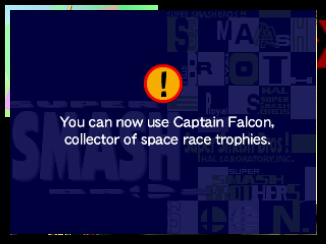 Super Smash Bros. - Cut-Scene  - I got Captain Falcon! - User Screenshot