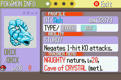 Pokemon Naranja (v2) - my crystal onix - User Screenshot