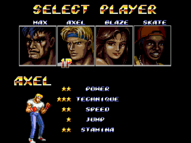 Streets of Rage 2 - Character Select  - Characters to choose from - User Screenshot