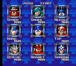 Mega Man III - The Rise and Fall of Dr. Wily - Character Select  - Robot Master Stage Select - User Screenshot