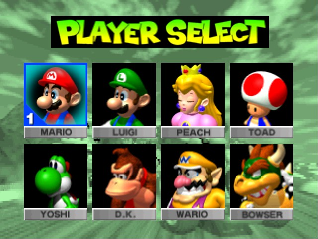 Mario Kart 64 - Character Select  - Characters to choose from - User Screenshot