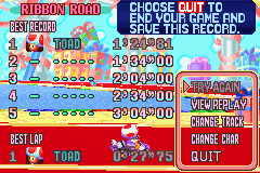 Mario Kart - Super Circuit - Location Ribbon Road - Beat mcmuffin AND dazzsheil! And mapaye also! - User Screenshot