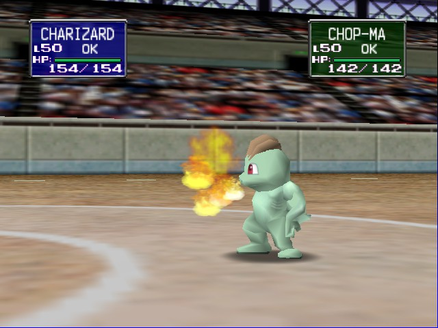 Pokemon Stadium - since when does machop use flame throwe  - User Screenshot