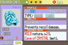 Pokemon Naranja (v2) - my crystal onix!!!!!!!!!!!!!!!!!!!!!!!!!!!!!! - User Screenshot