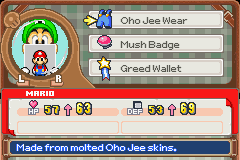 Mario & Luigi - Superstar Saga - Character Profile - Menu screens when