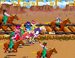 Sunset Riders (4 Players ver EAC) - Cut-Scene  - All four cowboys on horseback - User Screenshot