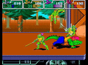 Teenage Mutant Ninja Turtles - Turtles in Time (4 Players ver UAA) - Battle  - Leatherhead! Watch where you are runing! - User Screenshot