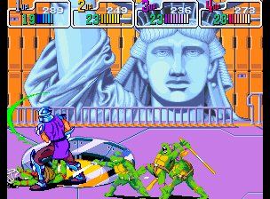 Teenage Mutant Ninja Turtles - Turtles in Time (4 Players ver UAA) - Battle  - OMG! Shredder have lightsaber like Vader! - User Screenshot