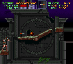 Super Castlevania IV - Castlevania 2 trhowing the oak stake! - User Screenshot