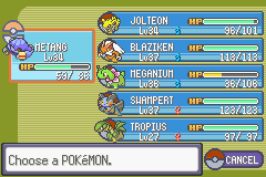 Pokemon Tiberium - my team so far - User Screenshot