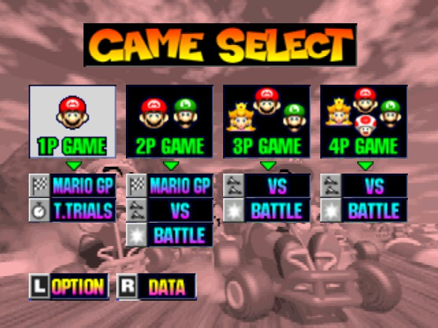 Mario Kart 64 - Mode Select  - 1 or 2 players... hmmmm - User Screenshot