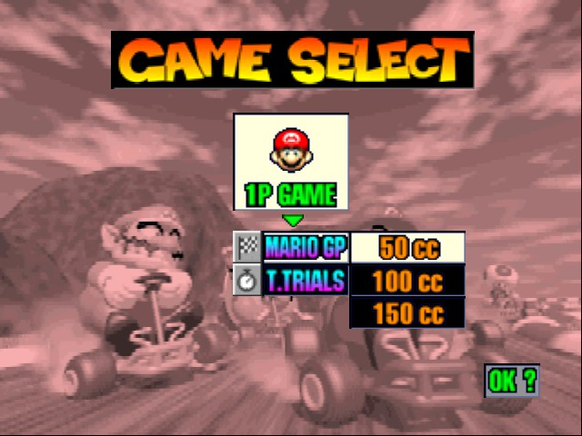 Mario Kart 64 - Menus  - Yes, I want to play 1P 50cc!  - User Screenshot