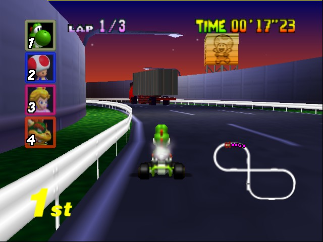 Mario Kart 64 - Level Toad - Taking the inside turn, like a boss.  - User Screenshot