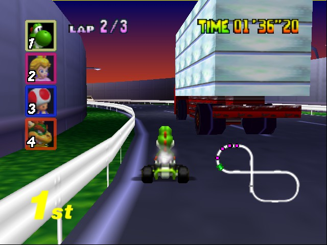 Mario Kart 64 - Level Toad - Taking the truck on the inside with skill - User Screenshot