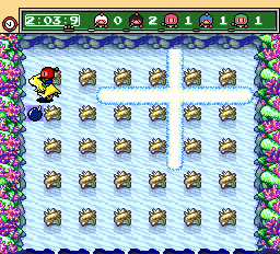 Bomberman (red) -Level Underwater:Why are they just on top of each other?  - User Screenshot