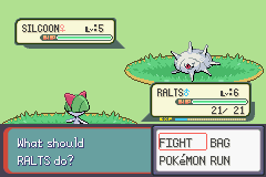 Pokemon Burning Ruby - Battle  - silcoon looks like a psycho in this - User Screenshot