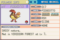 Pokemon Ash Gray (beta 2.5z) - I never Knew I could get a level 7 Pidgeotto - User Screenshot