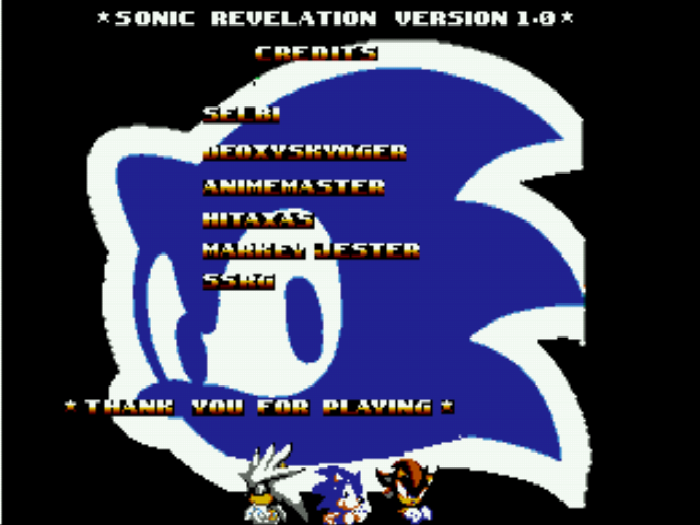 Sonic 1 - Revelation - CREDITS! + look at sonic o_0 - User Screenshot