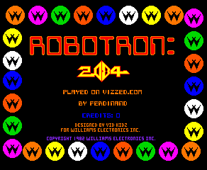 Robotron (Solid Blue label) Title Screen
