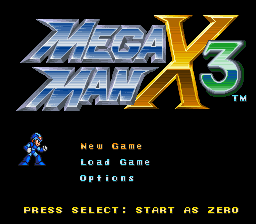 Mega Man X3 Zero Project v4.0 Title Screen