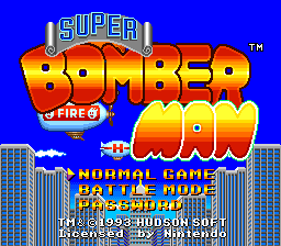 Super Bomberman Title Screen