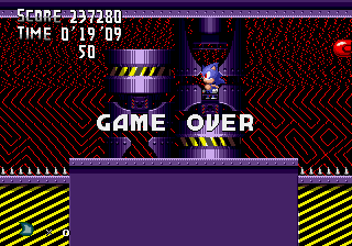 Metal Sonic Hyperdrive (Beta 2) - game over ;-; - User Screenshot