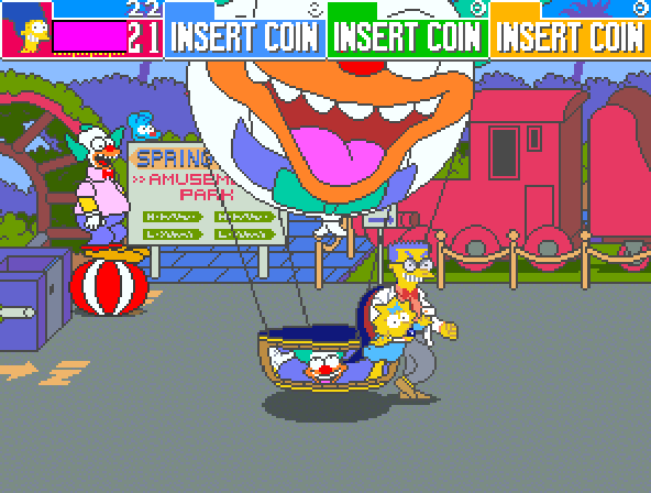 The Simpsons (4 Players World, set 1) - Level Krustyland - krusty brand hot air balloon! - User Screenshot