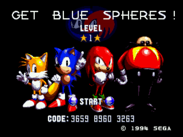 Sonic 3 Complete - Menus Main Menu - Look you can access Blue Spheres! - User Screenshot
