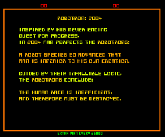 Robotron (Solid Blue label) - Introduction  - Robotron: 2084 (Story) - User Screenshot