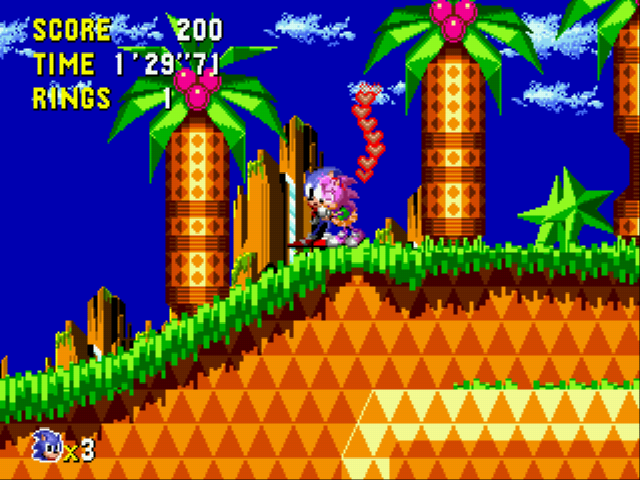Sonic CD (european version) - Level Palm Tree Panic - crud she got me.look at all those hearts 0_0 - User Screenshot
