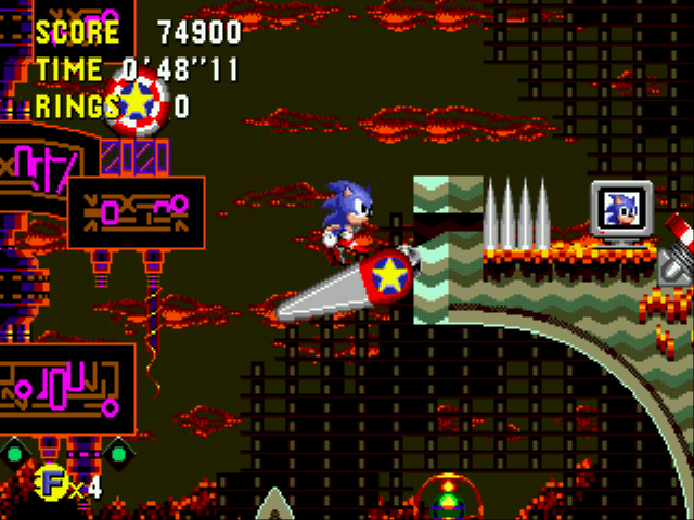 Sonic CD (european version) - Level Collision Chaos - Best way to attack Dr.R stand on this flipper - User Screenshot